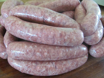 Gluten-free sausages ready for cooking