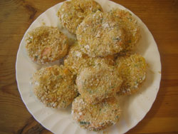 Trout fish cakes ready for grilling