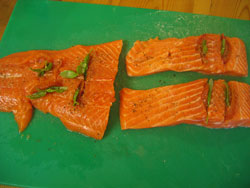 Grilled Salmon Trout Recipe - Raw Fish Being Prepared